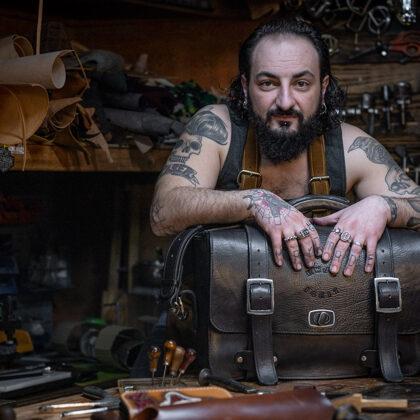 Claudio Nosari with a custom made camera bag