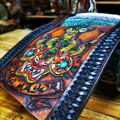 Custom made leather blanket roll