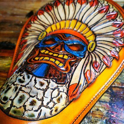 Custom made bobber seat tiki indian